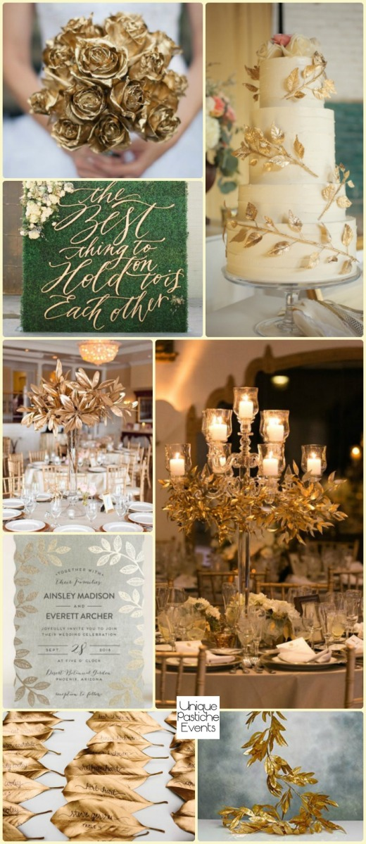 A Gilded Botanical Wedding Read more of the details and see more images from this inspiration board in the original post: https://uniquepasticheevents.com/2016/05/18/a-gilded-botanical-wedding/