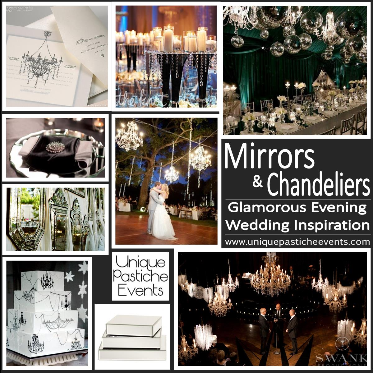 Chandelier unique pastiche events mirrors and chandeliers glamorous evening wedding inspiration arubaitofo Gallery