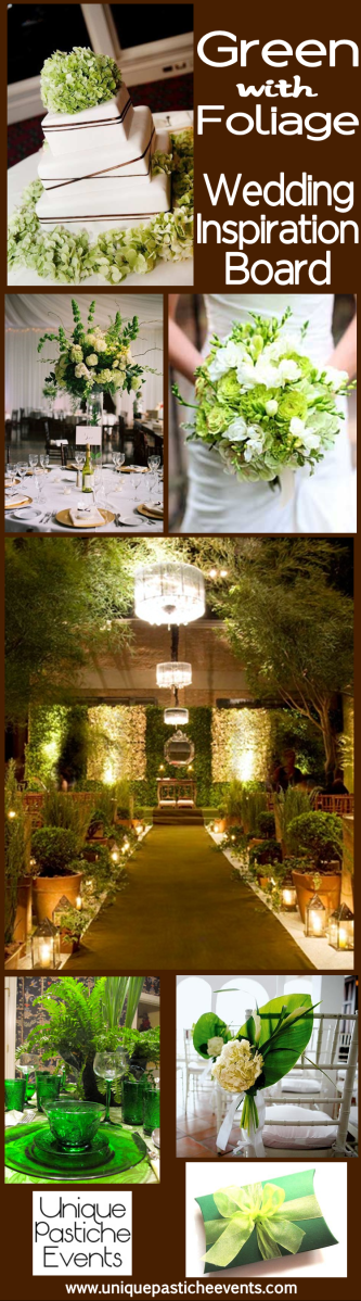 Green with Foliage – Summer Wedding Inspiration See the full post and complete inspiration in this post: https://uniquepasticheevents.com/2014/05/14/green-with-foliage-summer-wedding-inspiration/