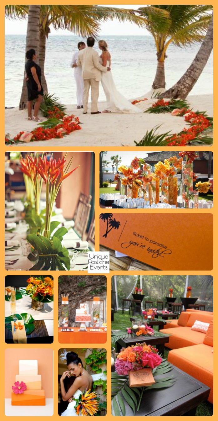 A Modern Tropical Beach Wedding in Orange Read more of the details and see more images from this inspiration board in the original post: https://uniquepasticheevents.com/2016/05/11/a-modern-tropical-beach-wedding-in-orange/