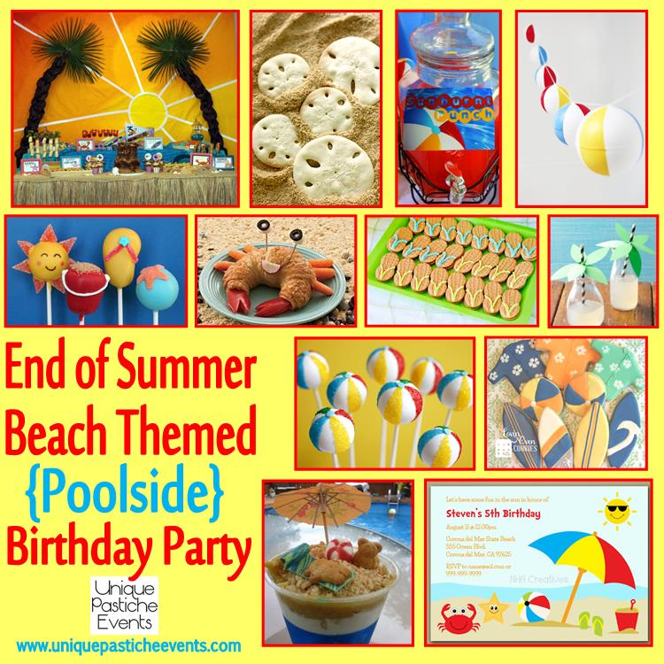 beach themed poolside birthday party unique pastiche events