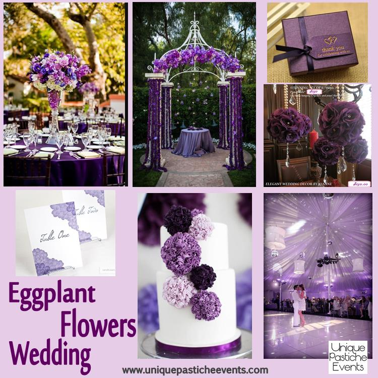 Eggplant Purple and Flowers Wedding Complete details on this post: https://uniquepasticheevents.com/2013/09/18/eggplant-purple-and-flowers-wedding-ideas/