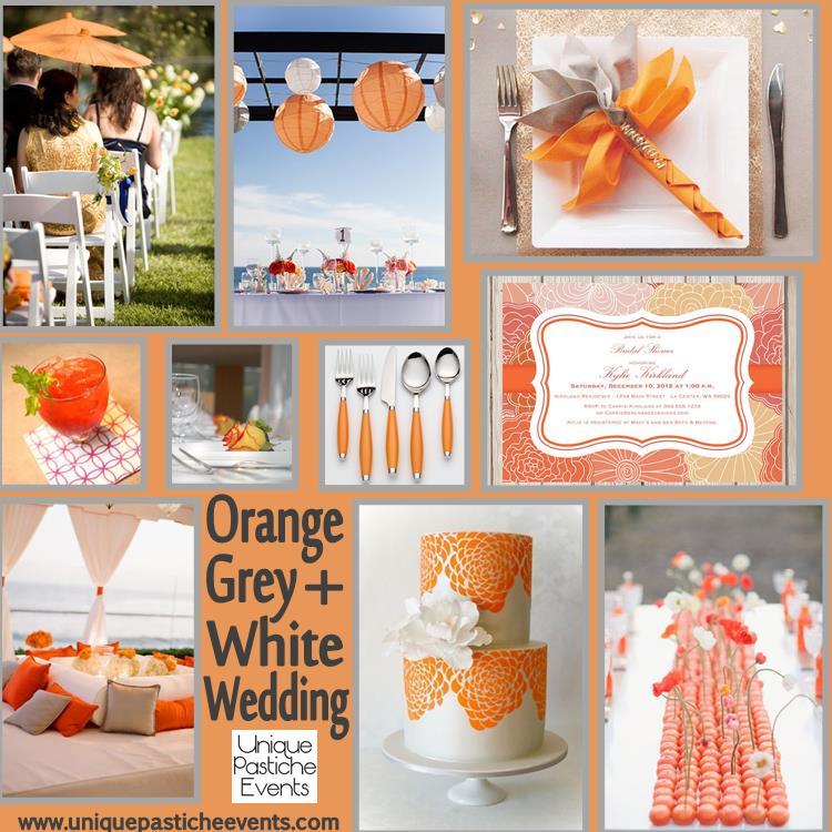 Orange Grey And White Wedding Unique Pastiche Events