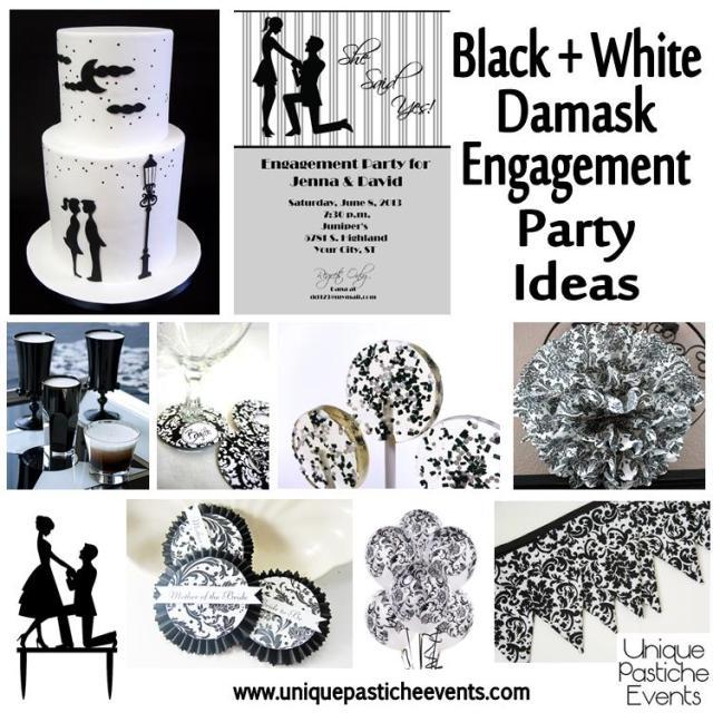Black + White +Damask Engagement Party Ideas