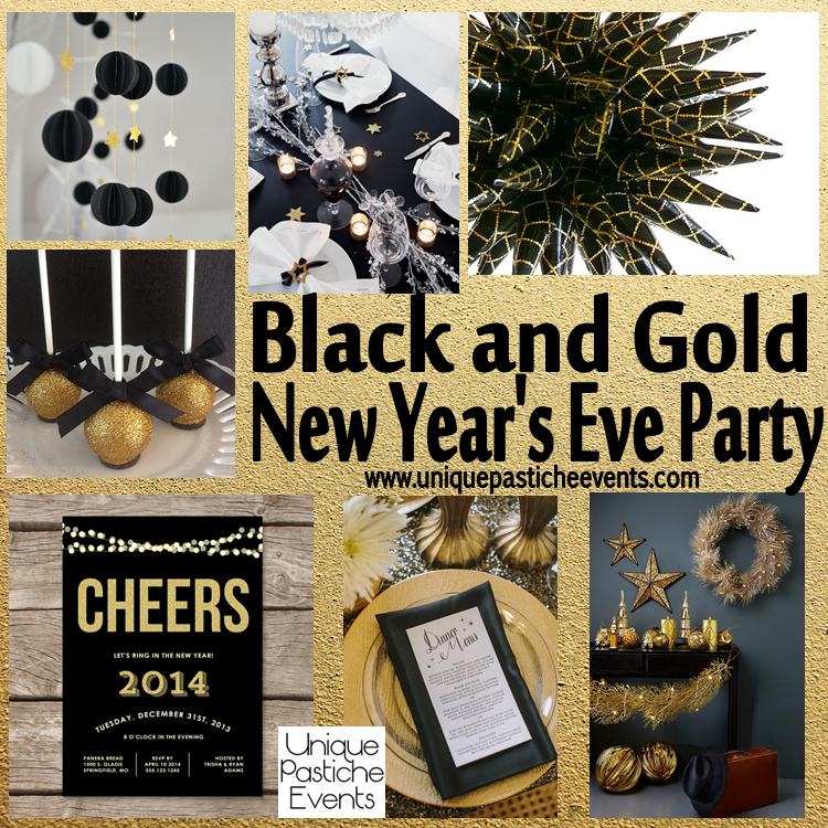 a new year s eve party in black and gold with a hint of stars