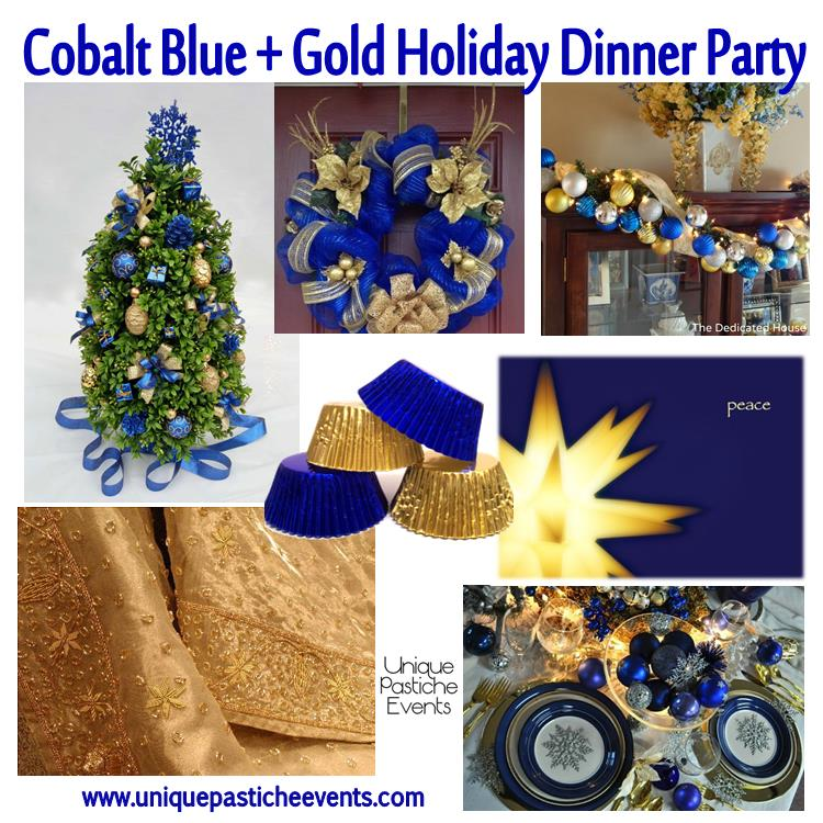 Cobalt blue gold holiday dinner party unique pastiche for Blue and gold christmas