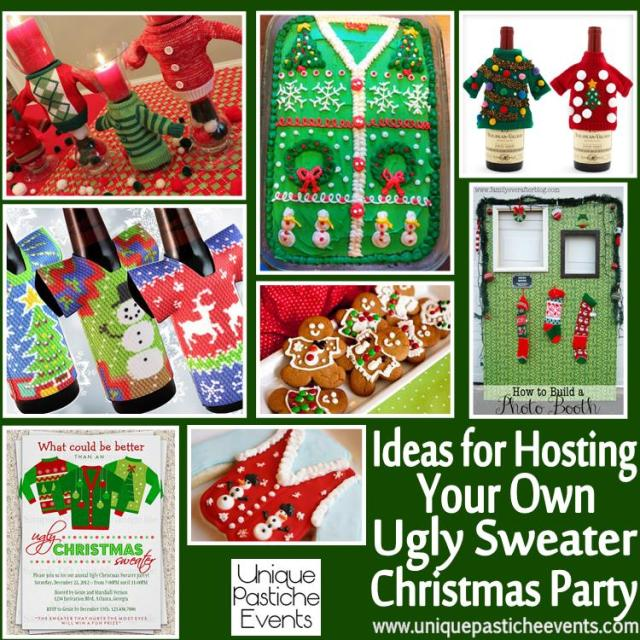 Ideas for Hosting Your Own Ugly Sweater Christmas Party  See all the details here: https://uniquepasticheevents.com/2013/12/11/ideas-for-hosting-your-own-ugly-sweater-christmas-party/