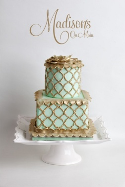 Seafoam Green and Gold Cake