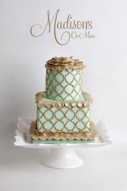 Seafoam Green and Gold Cake