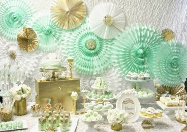Mint Green, Gold and White Dessert table