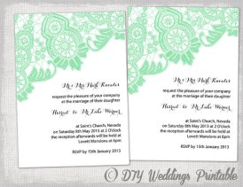 DIY Wedding Invitation – Mint Green Antique Lace