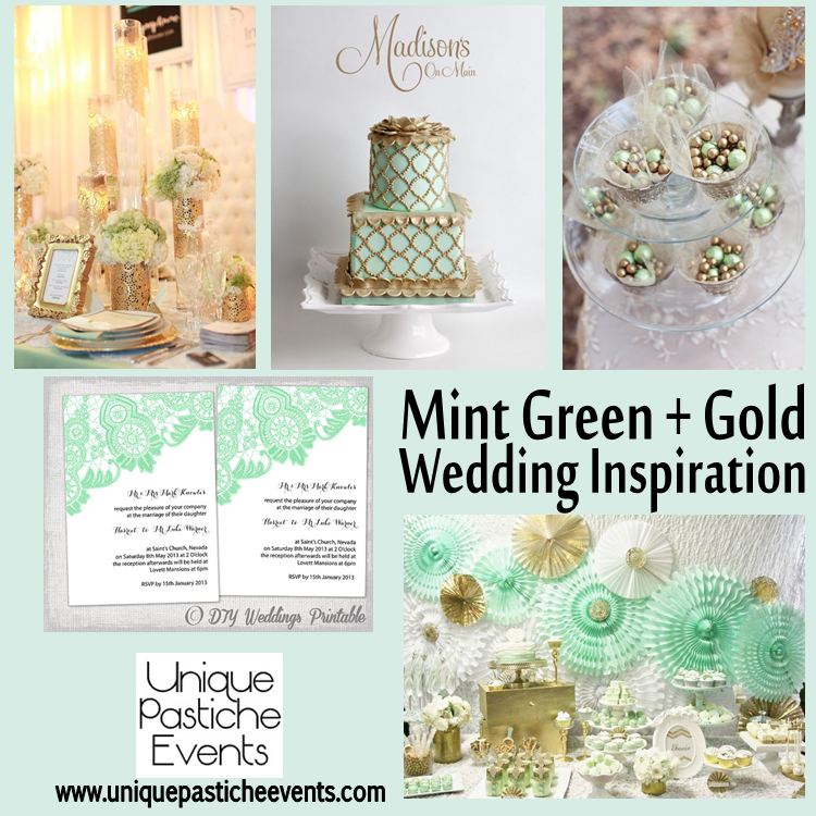 mint green gold white wedding inspiration lace unique pastiche events