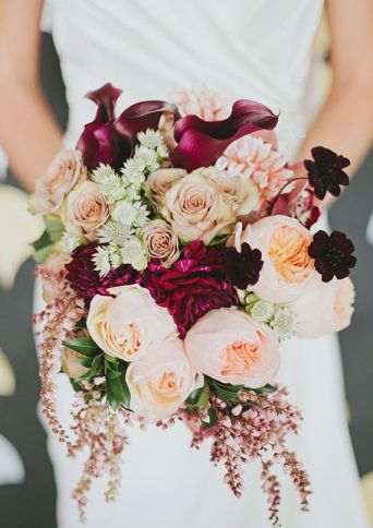 Peach and Cranberry Wedding Bouquet – spotted on 100 Layer Cake