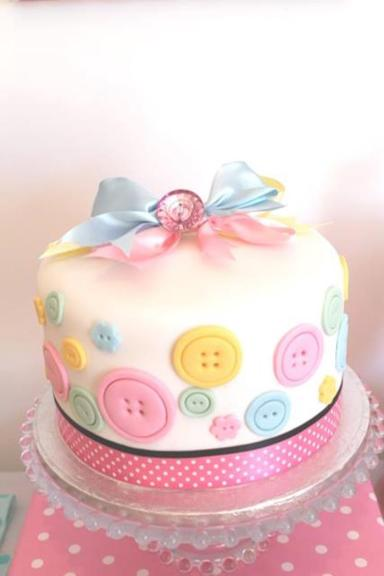 Pastel Cute as a Button Cake – shared on Kara's Party Ideas here