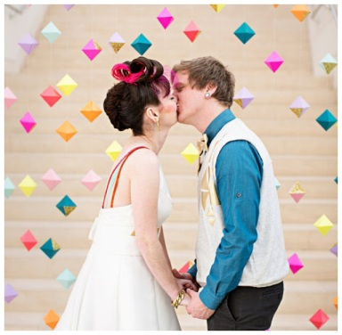 Colorful Geometric Wedding Alter Backdrop