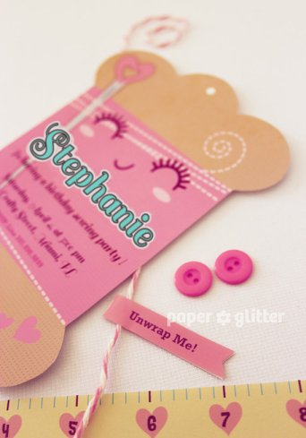 Sewing Party Printable Invitation – sold by paperglitter on Etsy