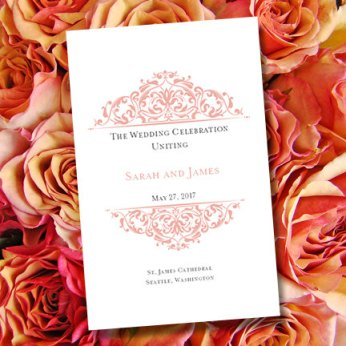 "Printable ""Grace"" Peach Wedding Program Template – sold by WeddingTemplates on Etsy"