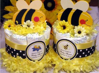 Cute As Can Bee Baby Shower Mini Diaper Cake Centerpieces – made by shadow090109 on Etsy