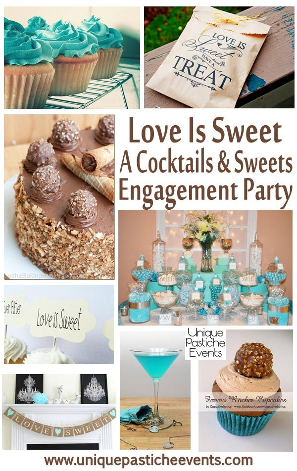 love is sweet cocktails and sweets engagement party ideas teal blue bronze unique pastiche events