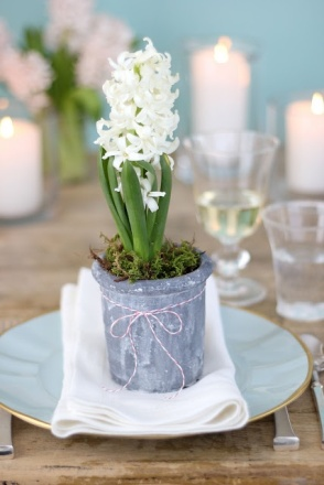 Simple Hyacinth Place Setting – shared by Everyday Occasions by Jenny Steffens Hobick