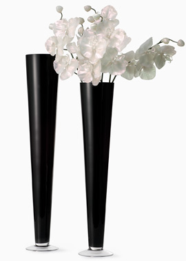 Black Glass Trumpet Vases – sold by JamaliGarden