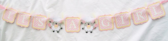 It's A Girl Lamb Baby Shower Banner – made by NancysBannerBoutique on Etsy