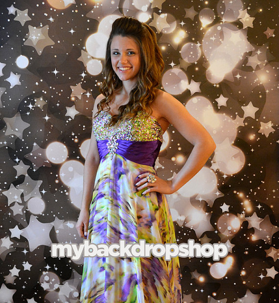 Black Star Glittering Bokeh Photo Booth Backdrop – made by MyBackdropShop on Etsy