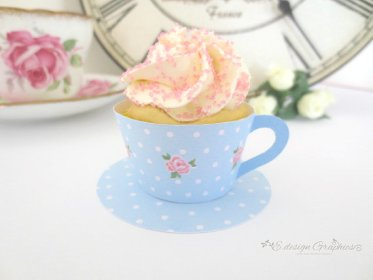 Sweet Rose Tea Cup Cupcake Wrapper Printable – made by EdesignGraphics on Etsy