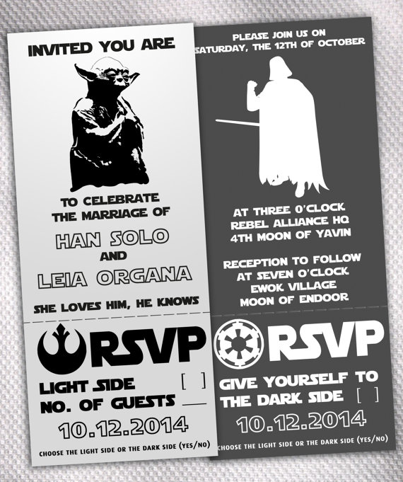 Star Wars Wedding Invitations made by AprilSanson on Etsy Unique