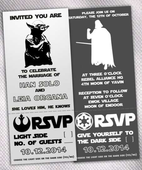 Star Wars Wedding Invitations – made by AprilSanson on Etsy