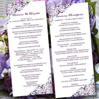 Wedding Ceremony Purple Program Templates – made by Wedding Templates on Etsy