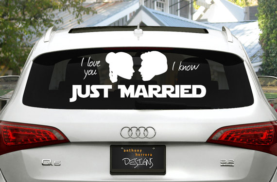 Just Married Star Wars Wedding Window Cling Decal – made by AnthonyHerreraDesign on Etsy