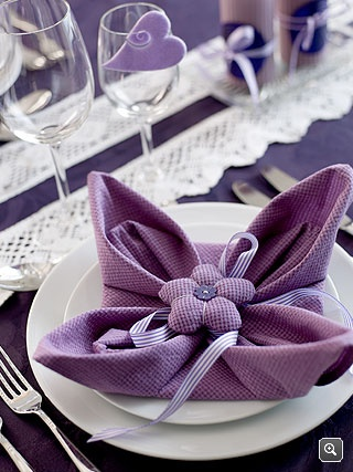 Purple Napkin Fold – spotted on Pinterest