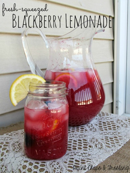 Fresh Squeezed Blackberry Lemonade – recipe shared by Paint Chips and Frosting