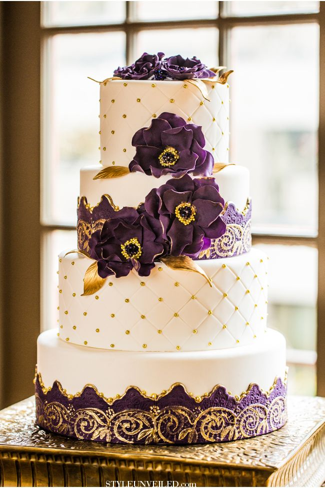 Luxurious dark purple gold wedding inspiration unique purple and gold wedding cake shared on style unveiled junglespirit Image collections