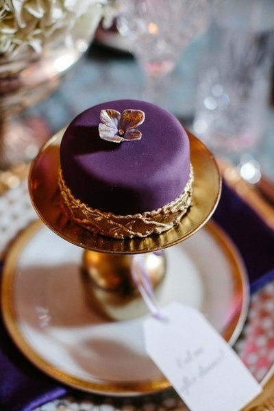 Luxurious dark purple gold wedding inspiration unique pastiche purple and gold petite cake shared by colin cowie weddings junglespirit Choice Image