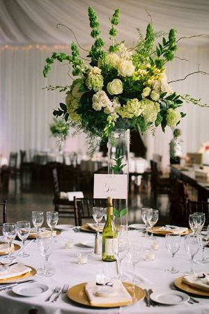 Green Centerpiece – shared on Southern Weddings