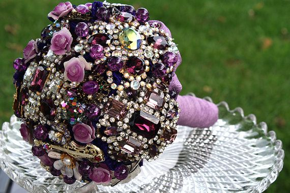 Purple Rhinestone Wedding Bouquet – made by hairbowswonderworld on Etsy