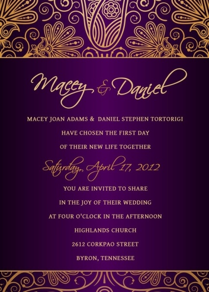 Purple and Gold Invitations – spotted on Pinterest