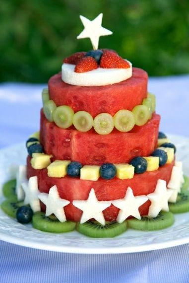 Fresh Fruit and Watermelon Cake – shared by Apron Strings