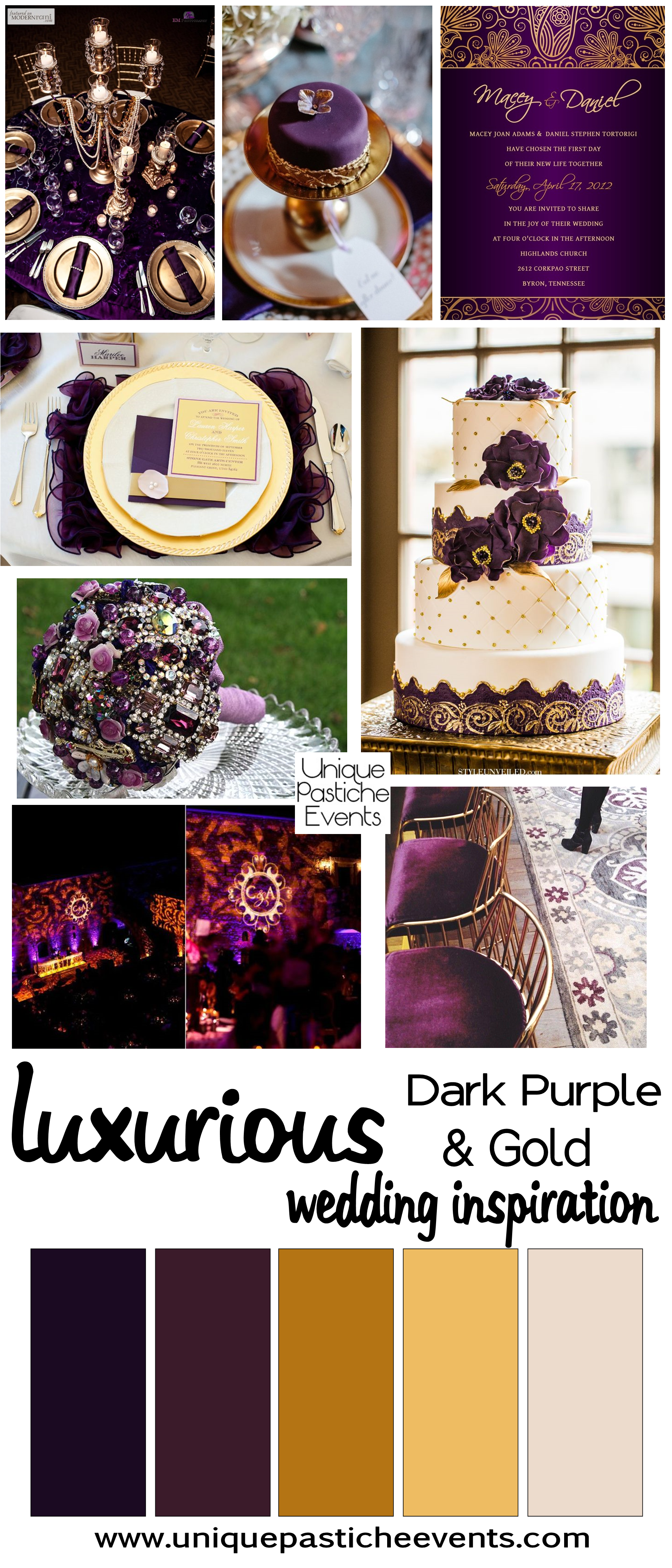 Luxurious Dark Purple + Gold Wedding {Inspiration} | Unique ...
