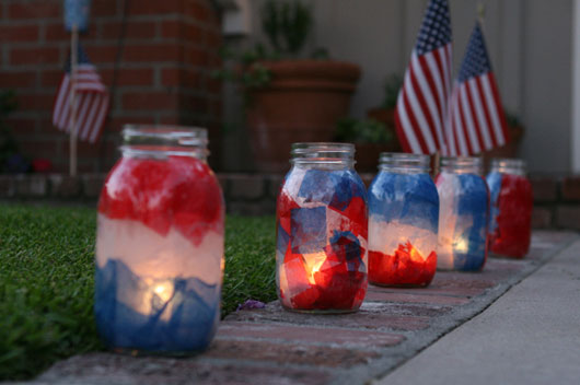 Patriotic Mason Jar Luminaries – shared by For The Love Of