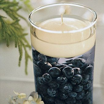 Blueberry Filled Cylinders Décor – shared on Brides.com