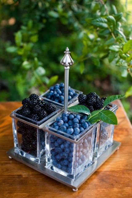 Blackberry and Blueberry Centerpiece – shared on Wedding Chicks
