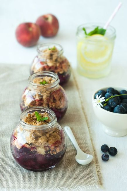 Picnic Peach & Blueberry Crumbles – recipe and details shared on Princess Misia
