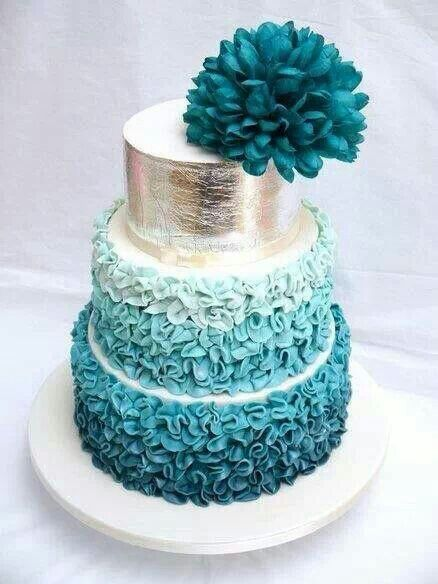 Multi Tiered Blue And Silver Wedding Cake Spotted On Pinterest