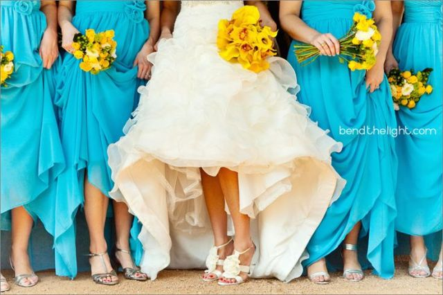 Bright Blue Bridesmaids Dresses and Yellow Bouquets – shared on Bend the Light