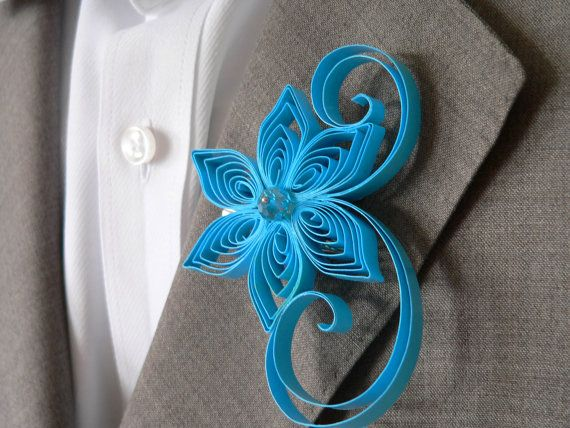 Malibu Blue Boutonniere – made by MiaettiaCreations on Etsy