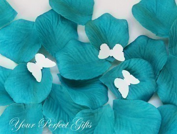 Teal Blue Silk Rose Petals – sold by yourperfectgifts on Etsy