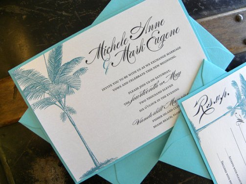 Turquoise Palm Tree Beach Wedding Invitations – made by citlali on Etsy